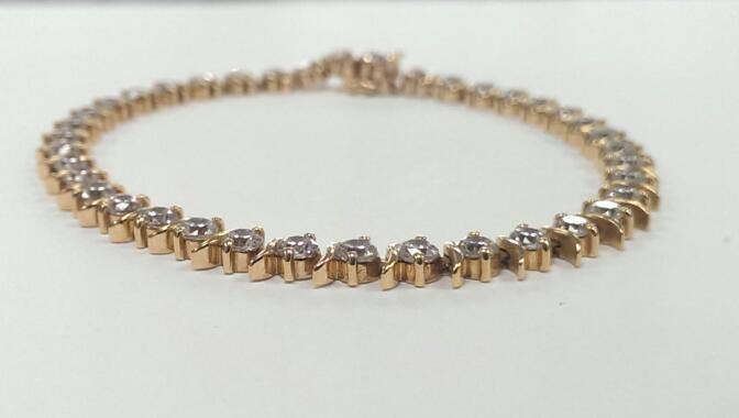 Synthetic Cubic Zirconia Gold-Stone Bracelet 10K Yellow Gold 13.8g