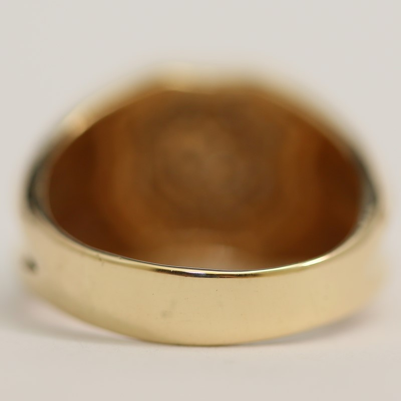 Men's 10K Yellow Gold Round Brilliant Cut Diamond Cluster Ring Size 8.5