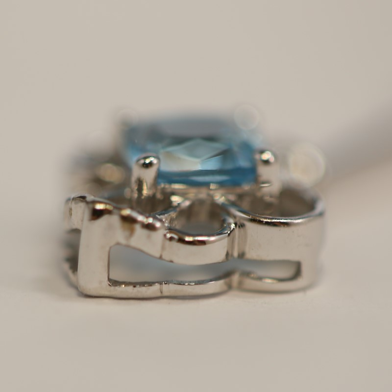 10K White Gold Cushion Cut Aquamarine Vintage Inspired Key Pendant