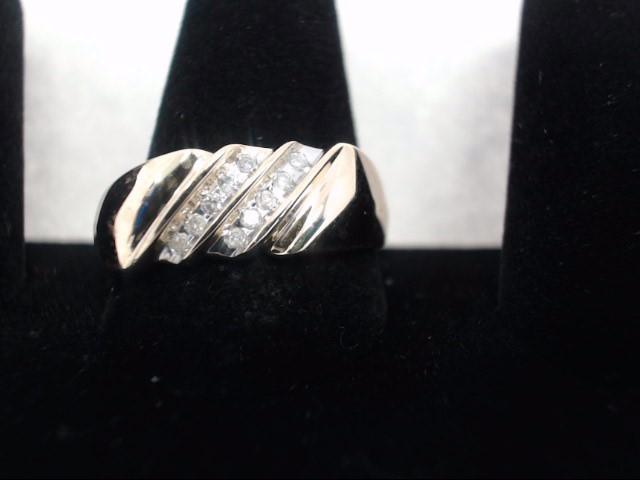 Gent's Diamond Cluster Ring 10 Diamonds .10 Carat T.W. 14K Yellow Gold 4g