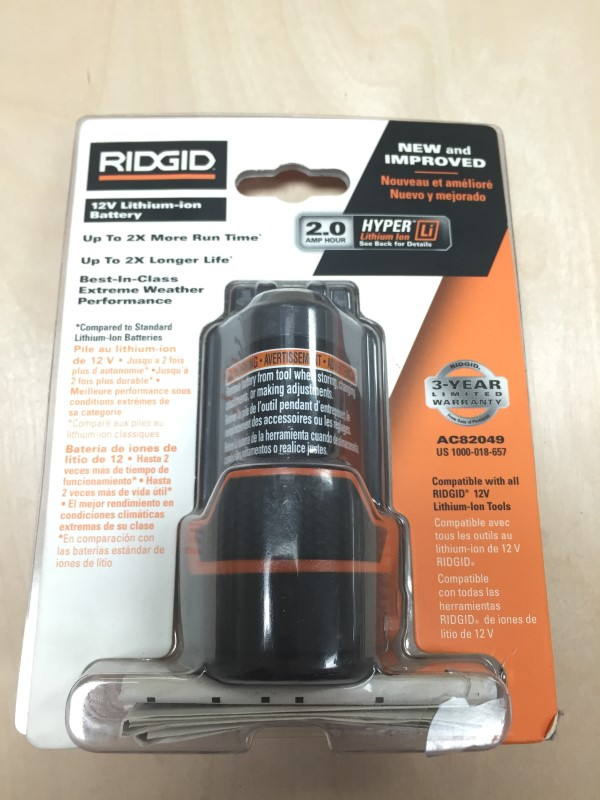 RIDGID TOOLS BATTERY 2 AMP HOUR LITHIUM ION
