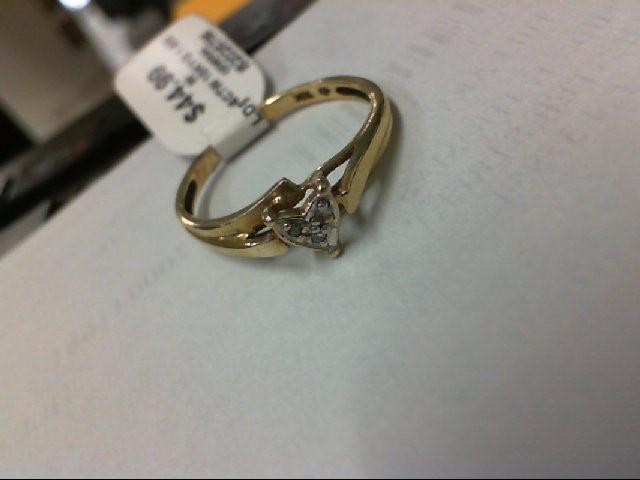 Lady's Diamond Cluster Ring 3 Diamonds .06 Carat T.W. 10K Yellow Gold 1.6g