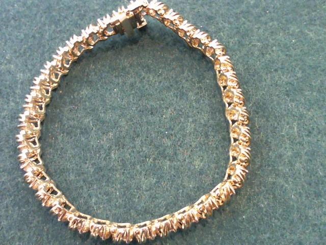 Gold-Diamond Bracelet 70 Diamonds 3.50 Carat T.W. 10K Yellow Gold 14.1g