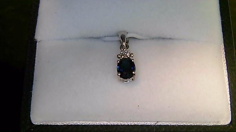 Synthetic Sapphire Gold-Diamond & Stone Pendant .01 CT. 10K White Gold 0.42g