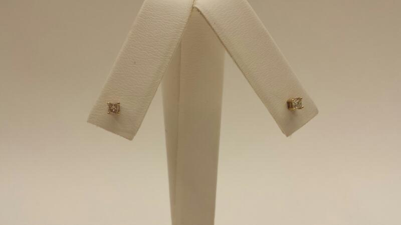 10k Yellow Gold Earrings with 2 Pricess Cut Diamonds at .18ctw - .4dwt