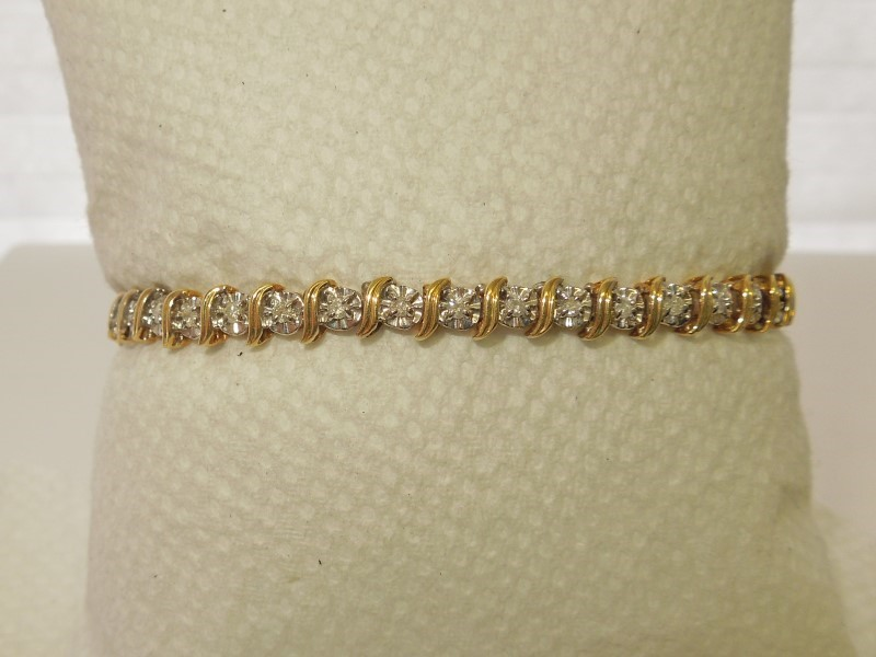 Gold-Diamond Bracelet 39 Diamonds .39 Carat T.W. 10K 2 Tone Gold 7.9g