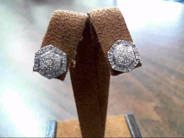 Gold-Diamond Earrings 88 Diamonds 3.44 Carat T.W. 10K White Gold 2.2dwt