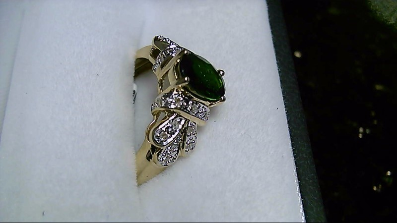 Diopside Lady's Stone & Diamond 10K Yellow Gold Ring