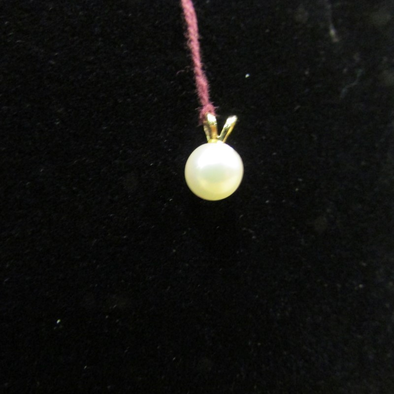 Synthetic Pearl Gold-Stone Pendant 14K Yellow Gold 0.5g