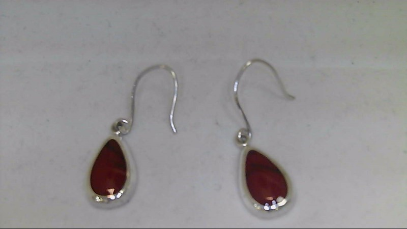 lady's sterling silver pear brown stone fish hook earrings, 2.18g