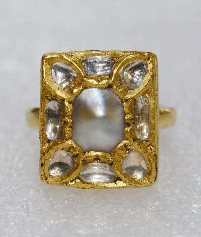 Vintage Custom 18K Yellow Gold Baroque Pearl & Polished Uncut Diamonds Ring sz 6