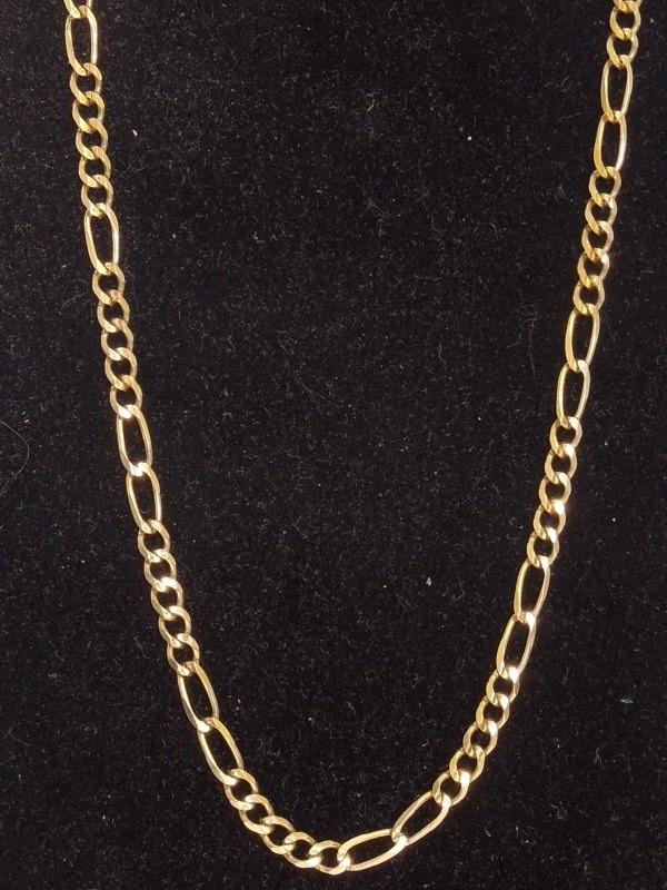 """16"""" Gold Figaro Chain 10K Yellow Gold 5.4g"""
