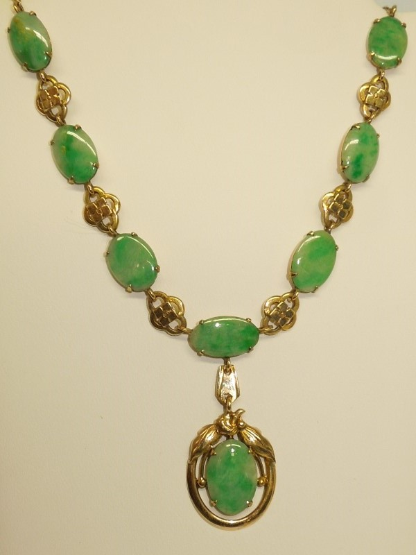 Jade Stone Necklace 14K Yellow Gold 11.8g