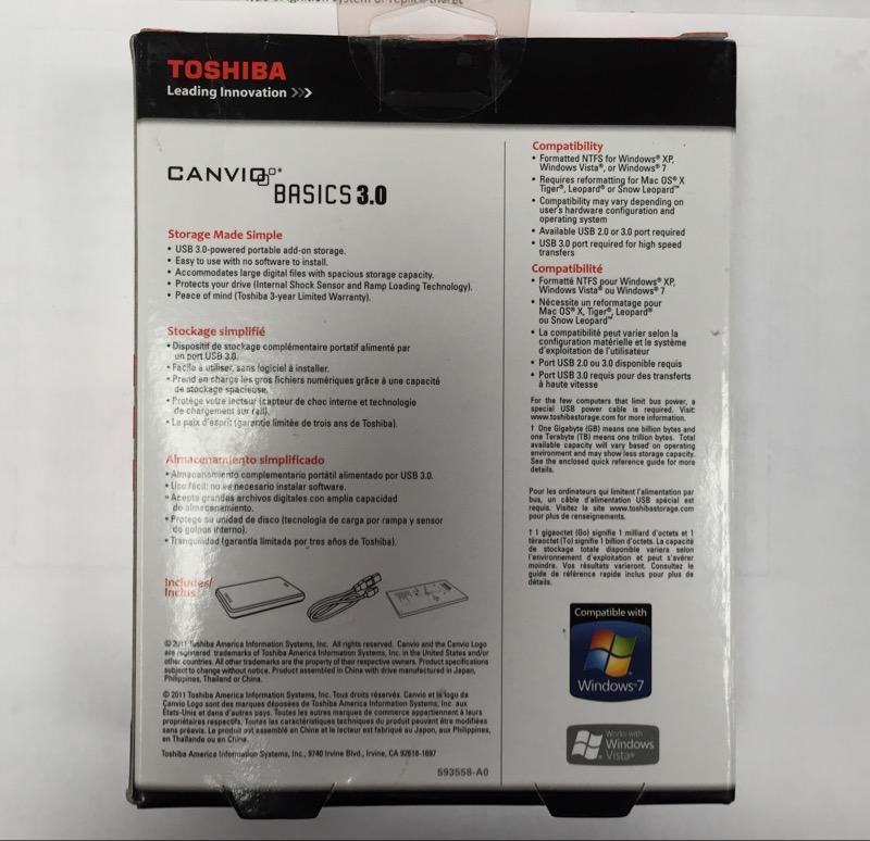 TOSHIBA 500GB PORTABLE HARD DRIVE HDTB105XK3AA