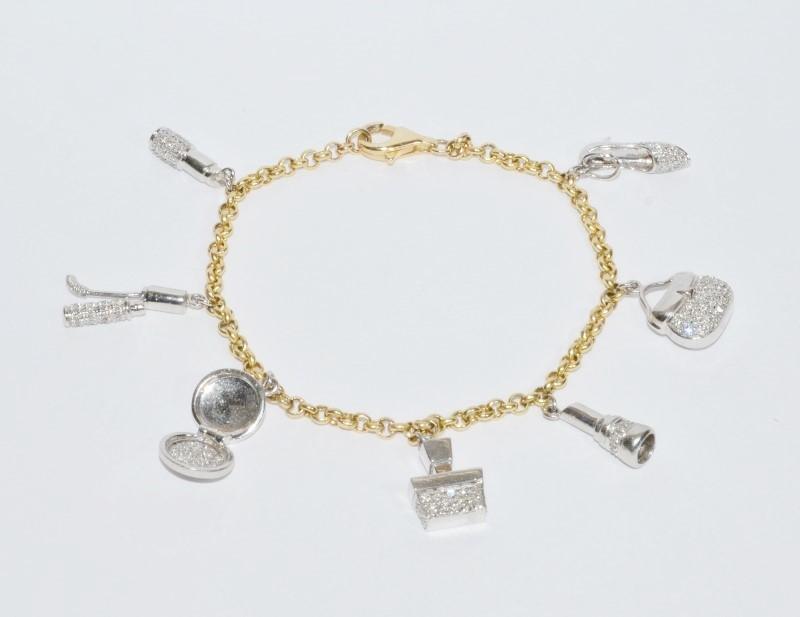 """8"""" 14K Two Tone Yellow & White Gold & Diamond """"Ladies Essentials"""" Charm Bracelet"""