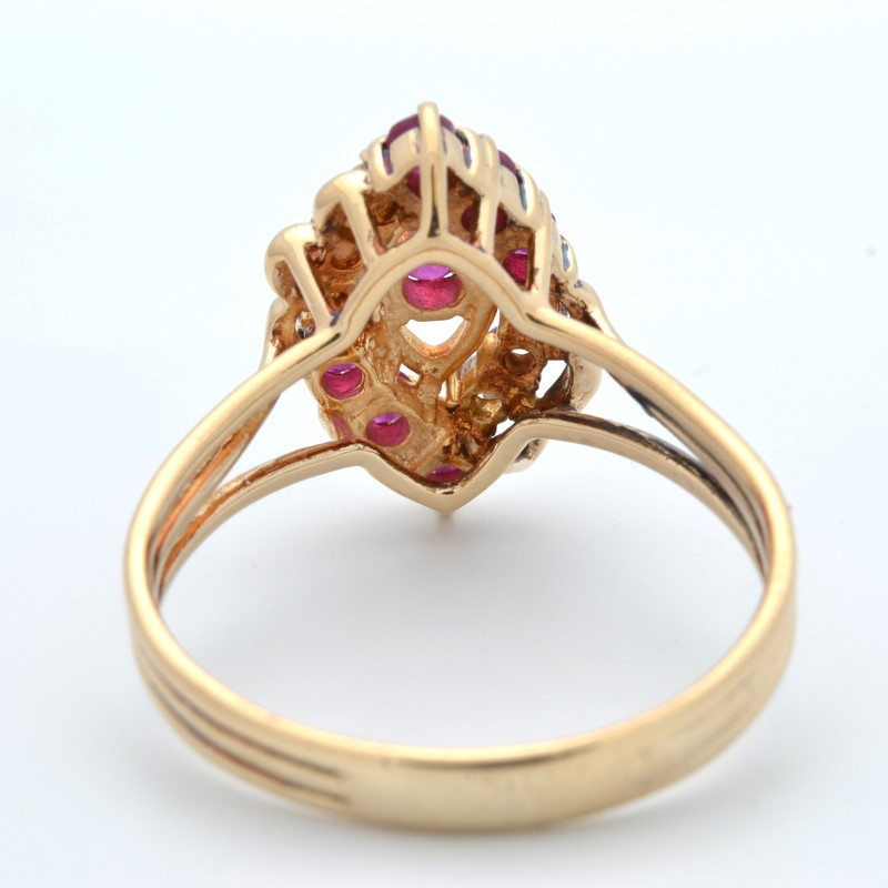 ESTATE DIAMOND RUBY RED RING SOLID 14K GOLD CLUSTER MARQUISE SZ 6.5