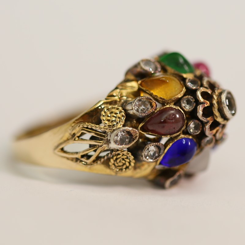 Vintage Inspired Art Deco 14K Yellow Gold Multi Stone Ring Size 7.5