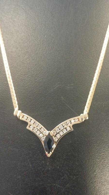 Synthetic Sapphire Diamond & Stone Necklace 24 Diamonds 1.20 Carat T.W.
