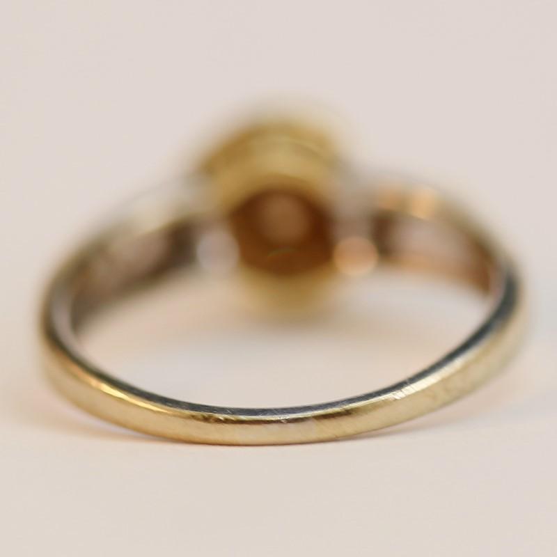 Twising 10K W/G Round Brilliant Diamond Solitaire Ring Size 7.75