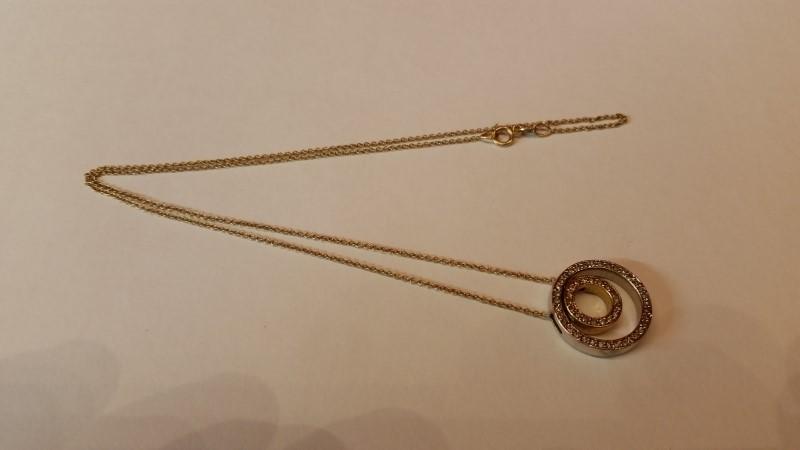 "16"" Diamond Necklace 53 Diamonds .53 Carat T.W. 14K 2 Tone Gold 4.01g"