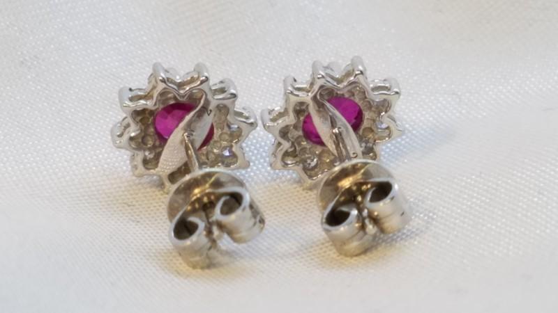 Ruby Gold-Diamond & Stone Earrings 20 Diamonds .20 Carat T.W. 18K White Gold