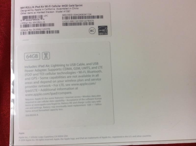 APPLE IPAD AIR 2 MH1R2LL/A 64GB WHITE/GOLD SPRINT (FINANCED)