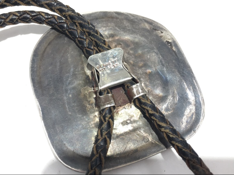 Vintage Navajo Sterling Silver & Turquoise Bolo Tie -BENNETT-