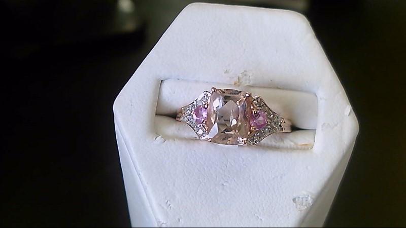 Morganite Lady's Stone & Diamond Ring 20 Diamonds .20 Carat T.W. 14K Rose Gold