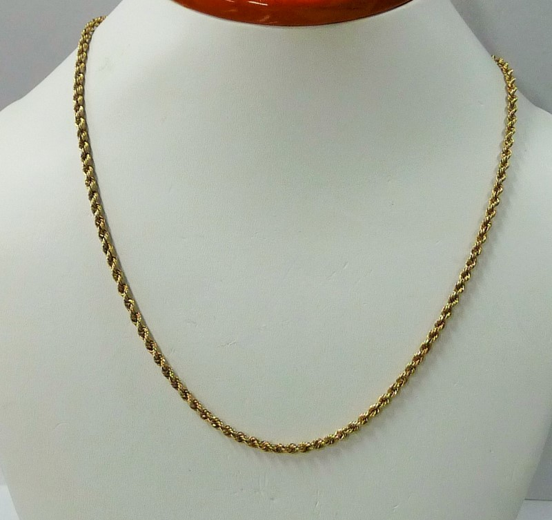 "18.5"" Gold Rope Chain 10K Yellow Gold 2.3dwt"