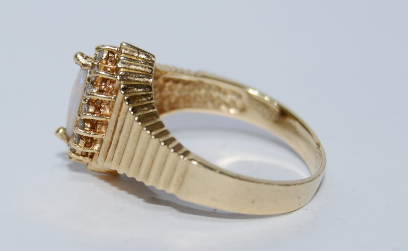 Marquis Created Opal & Diamond Ridged Ring sz 7