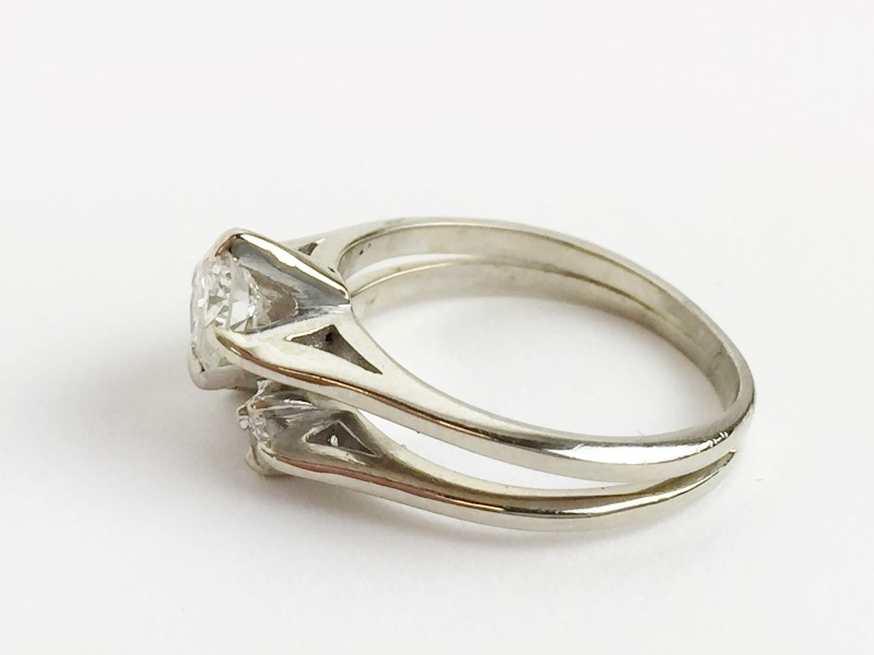 Diamond Wedding Set .50cntr w 3 Diamonds .62 Carat T.W. 14K White Gold 3.54g