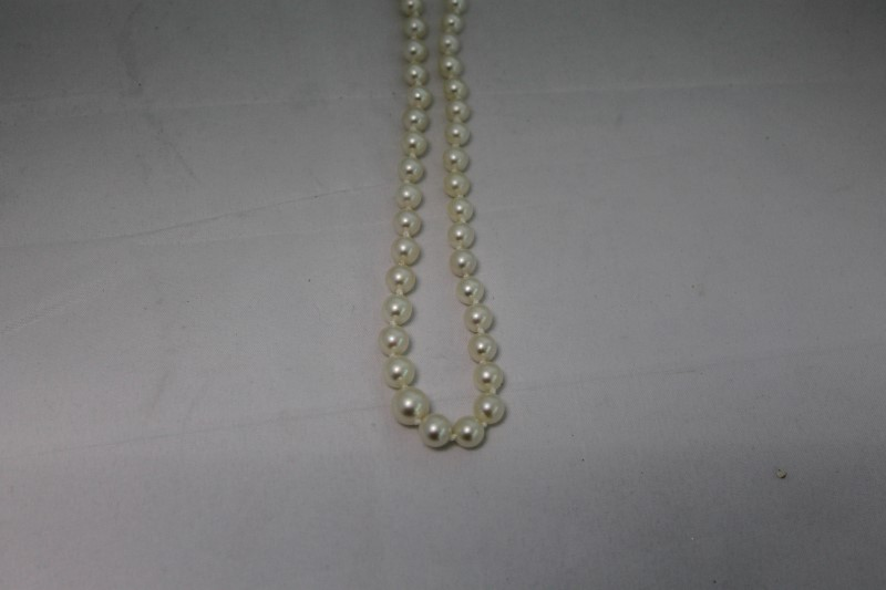 White Round Pearl 14K White Gold Necklace WG
