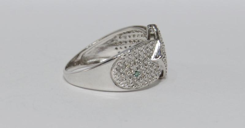 Lady's Diamond Cluster Ring 14K White Gold SIZE 7.5