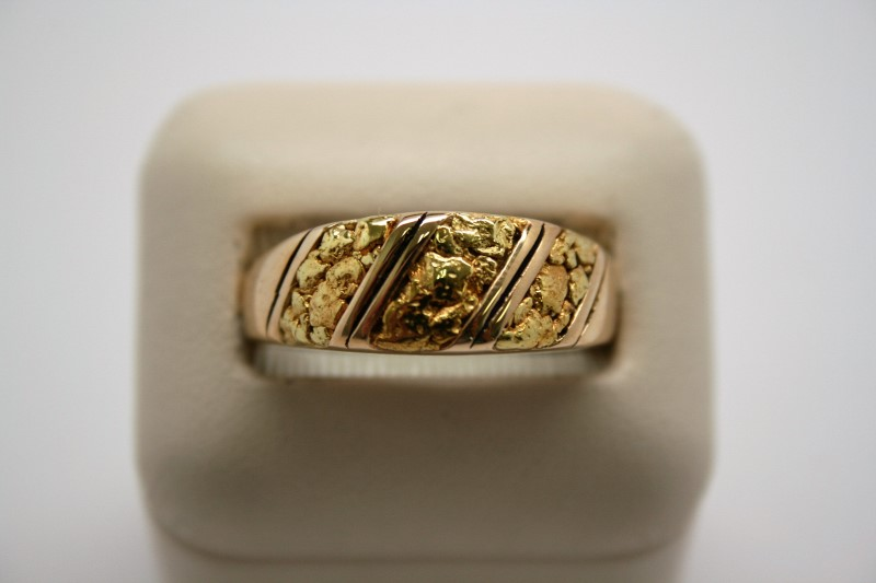 GENT'S DIAMOND NUGGET STYLE RING 14K/24K GOLD