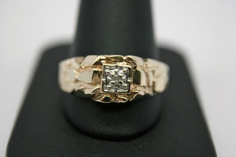GENT'S NUGGET DIAMOND RING 14K YELLOW GOLD
