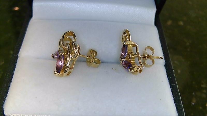Lady's 14k yellow gold marquise amethyst /diamond earrings