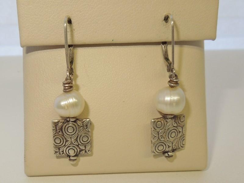 Pearl Silver-Stone Earrings 925 Silver 4.5g