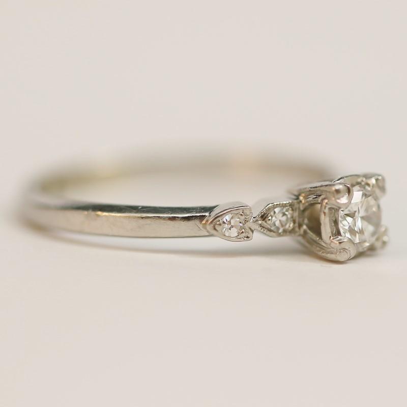 Platinum Round Brilliant Cut Diamond Engagement Ring Size 8