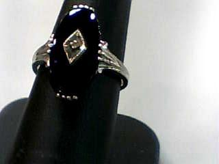 Lady's Gold Ring 10K White Gold 1.1dwt Size:7.5