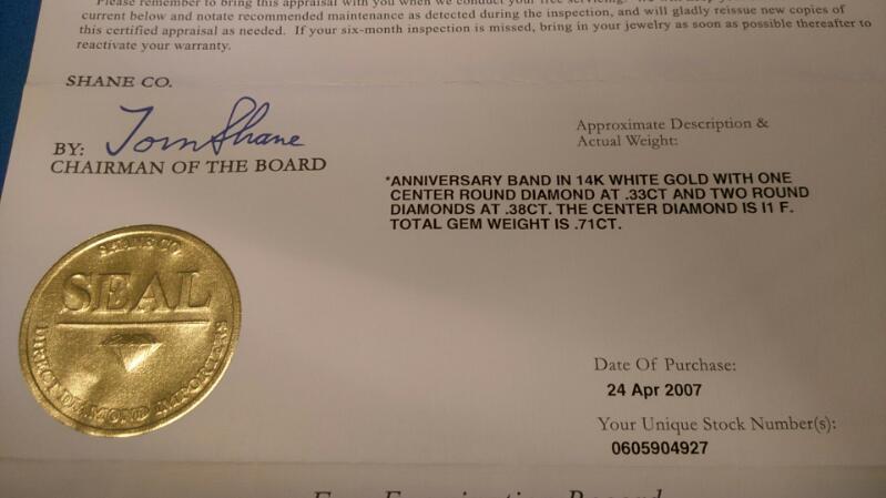 LADIES ANNIVERSARY RING 3 DIAMOND 0.71 CARAT T.W. 14K WHITE GOLD WITH APPRAISAL