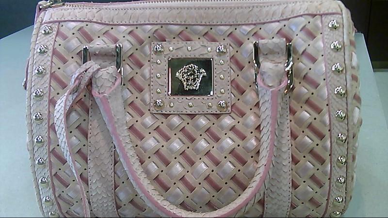 Versace Pink Python Snake Skin Handbag
