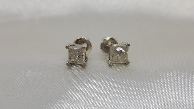 Gold-Diamond Earrings 2 Diamonds .98 Carat T.W. 14K White Gold 1.5g
