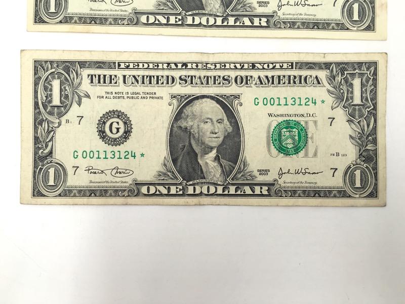 2003 $1 Dollar STAR Notes - Chicago G Serial No. - Lot of 2