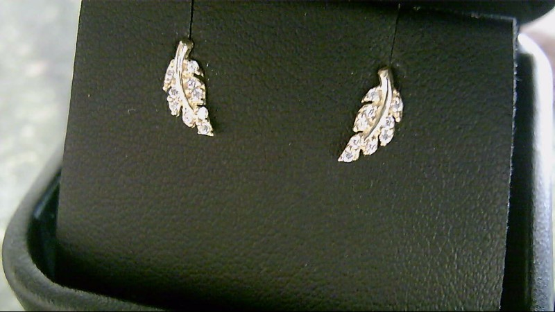Child's Leaf CZ Gold Earrings 10K Yellow Gold 0.3g