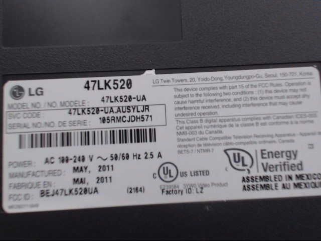 LG Flat Panel Television 47LK520-UA