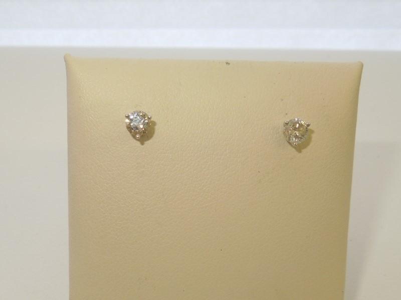 Gold-Diamond Earrings 2 Diamonds .56 Carat T.W. 14K White Gold 0.7g