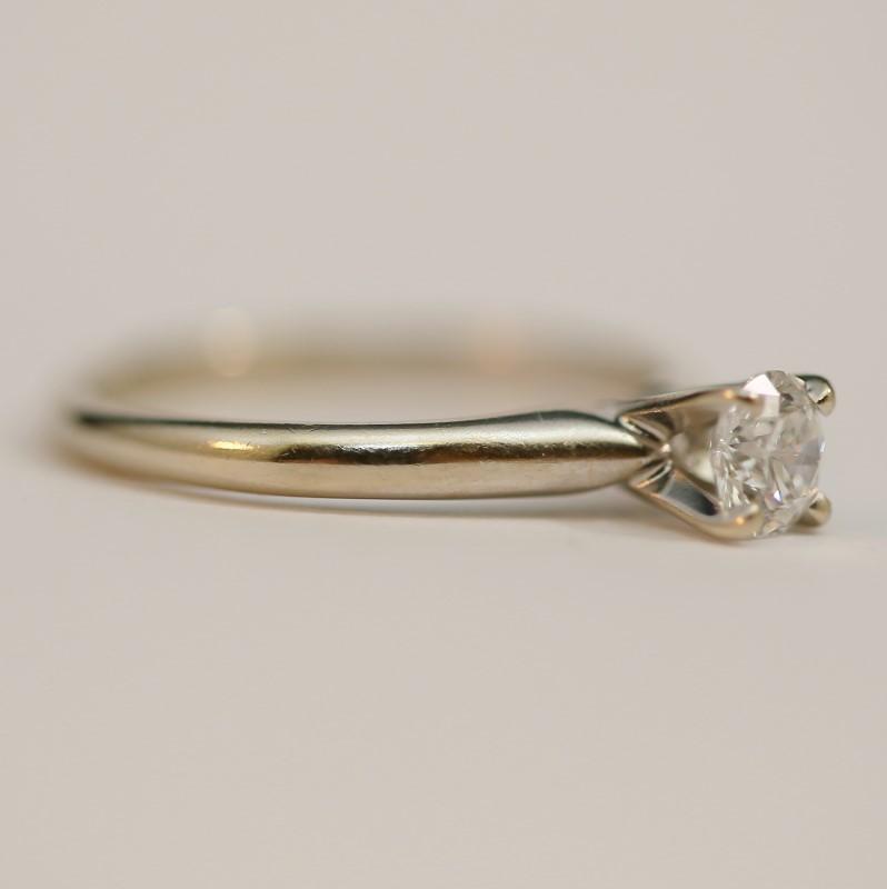 14K White Gold Round Brilliant Cut Diamond Solitaire Ring Size 6.75
