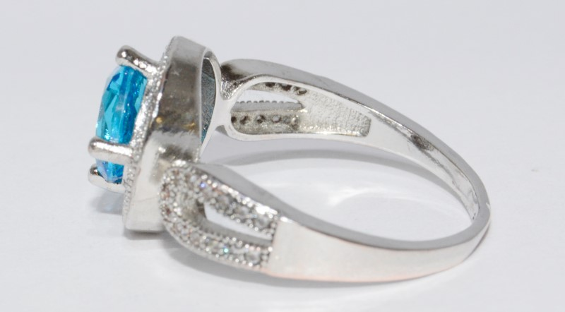 Sterling Silver Infinity Band Electric Blue Halo Style Ring sz 9