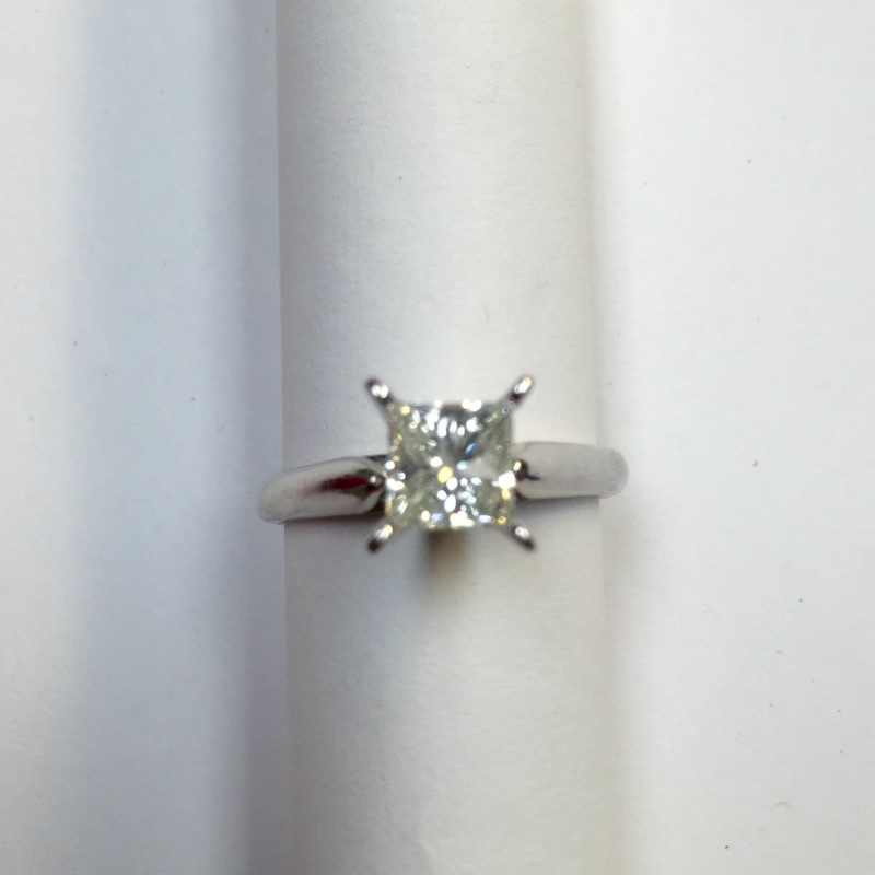 Lady's Diamond Solitaire Ring .89 CT. 14K White Gold 2dwt Size:5.3