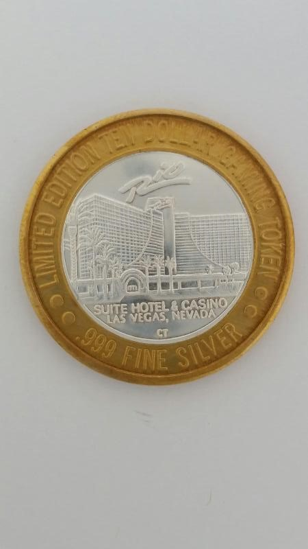 Limited Edition Rio Suite Hotel Casino Las Vegas $10 Gaming Token .999 Silver